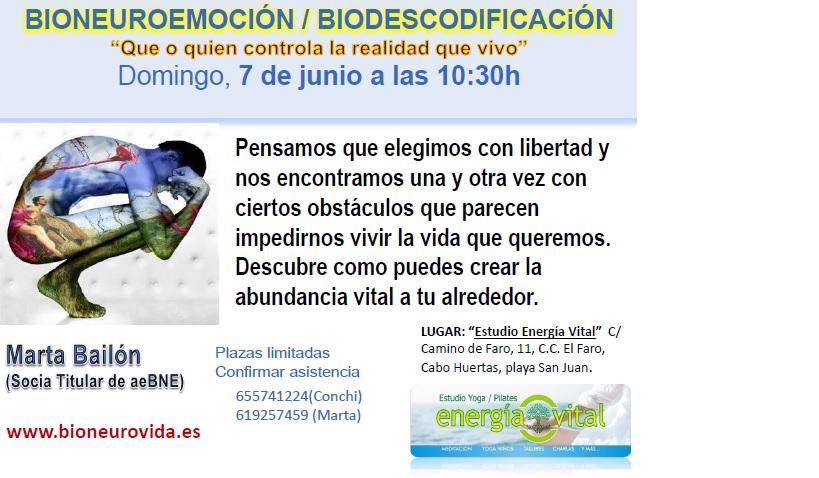 Charla biodescodificación 7 junio 2015